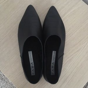 ZARA Black Soft Leather Flats